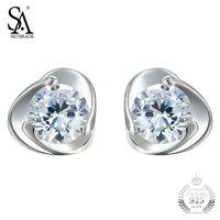 SA SILVERAGE 925 Sterling Silver Earrings With Cz Heart Stud Earrings For Women Girl College Fine