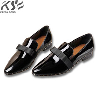 Women Leather Dress Shoes Metal Pearl Really Leather Shoes Fashional Patent Genuine Leather Luxury Designer Comfortable