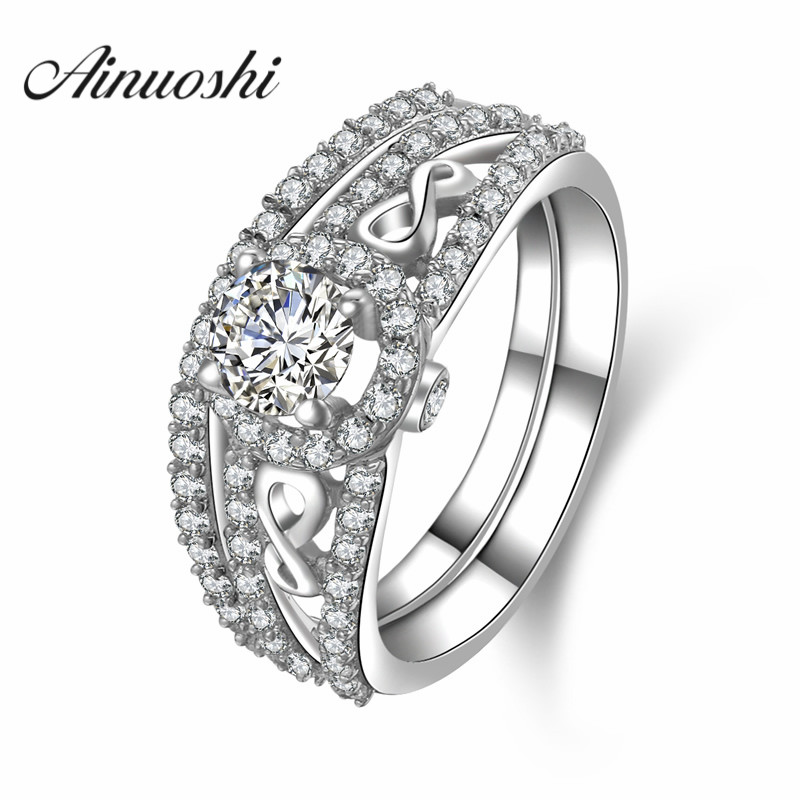 AINUOSHI 4 Prongs Simulated Round Cut Bridal Ring Set Luxury 925 Sterling Silver Halo Ring Women Engagement Anniversary Jewelry