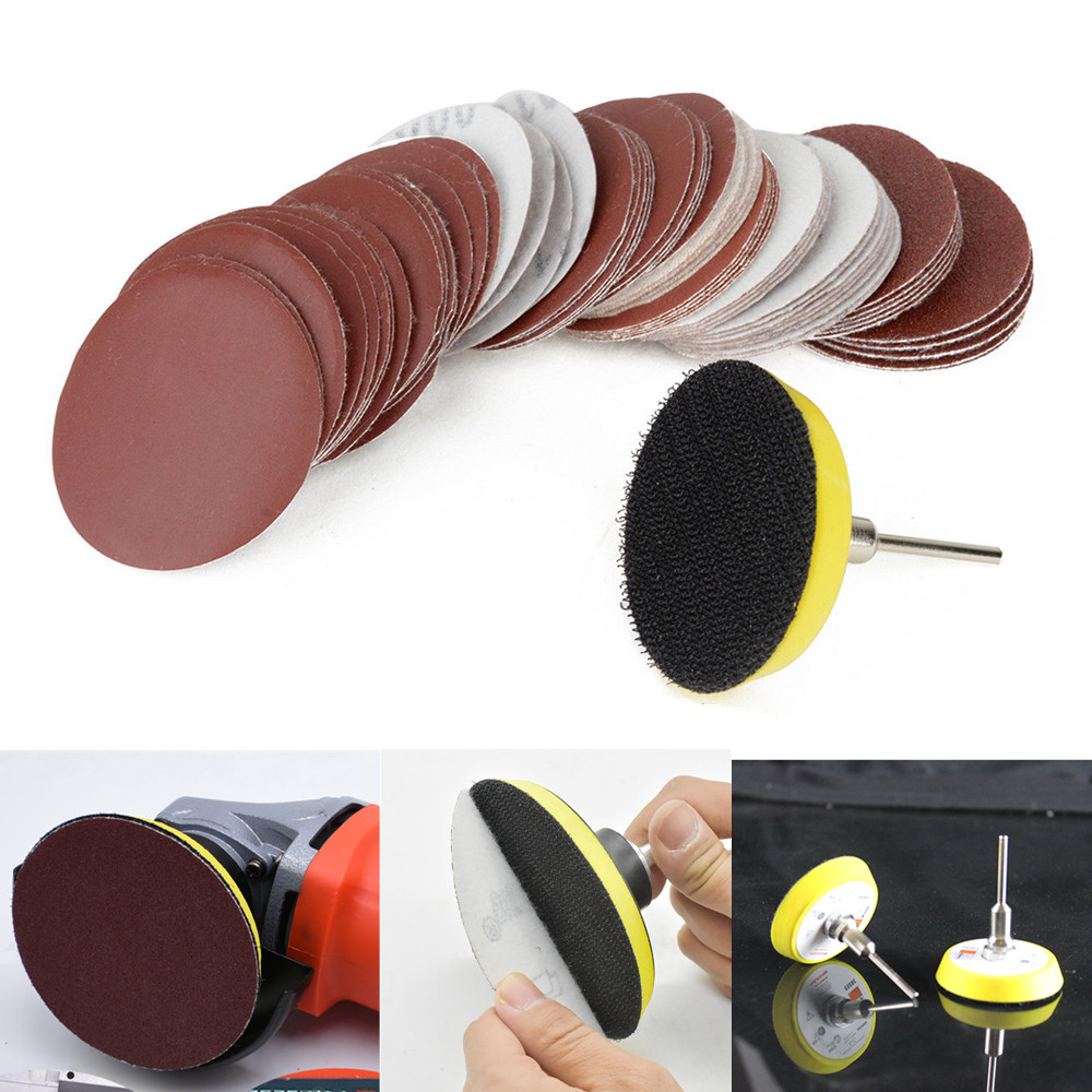 60pc/set 1/4'' Sander Disc Sanding Disk Sand Paper with 50mm Abrasives Hook & Loop Backer Plate for Polishing Cleaning Tools