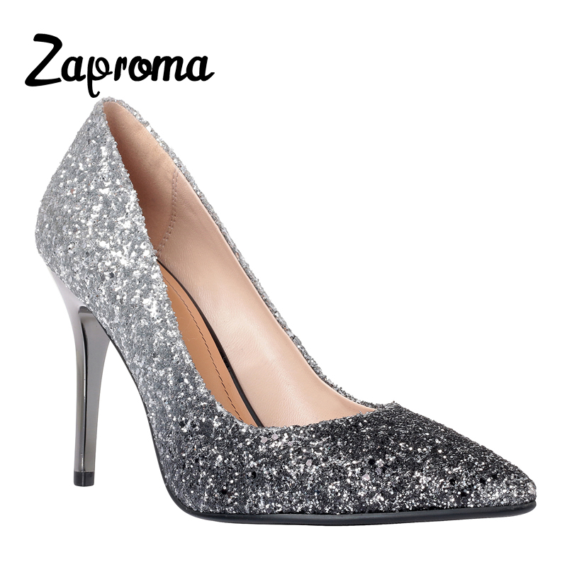 Woman Shoes ZAPROMA Ladies Glitter High Heels Wedding Bride Pumps Zapatos Mujer chaussure femme talon Summer 2018 цена 2017