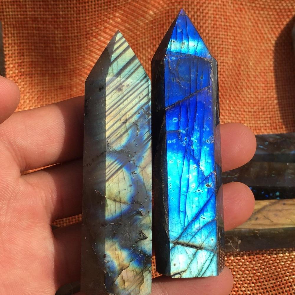 2PCS Natural labradorite obelisk quartz crystal wand point healing2PCS Natural labradorite obelisk quartz crystal wand point healing