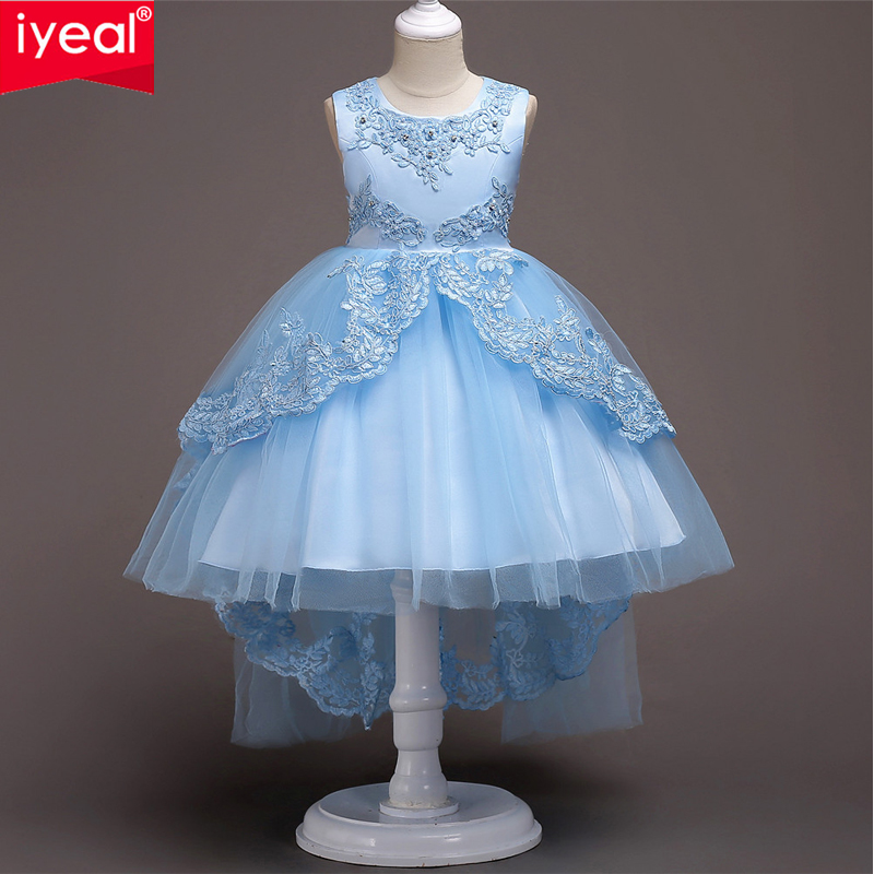 IYEAL Sleeveless O-Neck Girl Dress Pretty Lace Puffy Flower Girl Dresses High Low Lace Appliques Communion Pageant Dresses 5-14T книги эксмо первые русские миноносцы основоположники новой тактики page 4