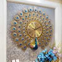Large Wall Clock Modern Design Luxury Peacock Metal Digital Clocks Wall Watch Home Decoration Large Wall Clock horloge