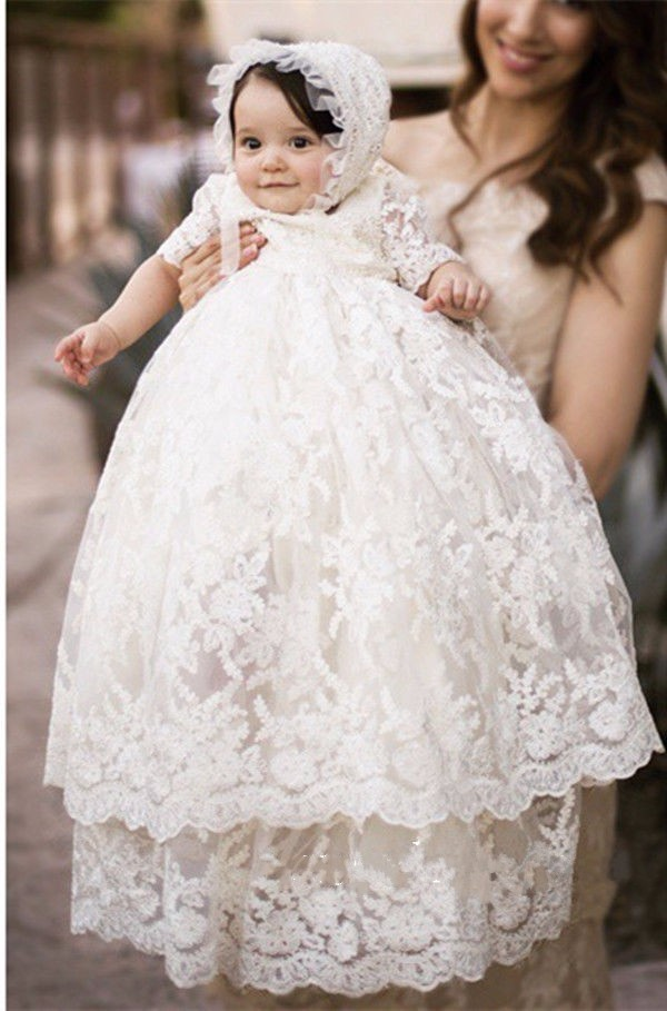 Vintage White/Ivory Baby Girls Christening Gown Infant Girls Baptism Dress Lace Applique With Bonnet 2016 new baby infant christening dress lace applique white ivory boys girls baptism gown with bonnet with belt
