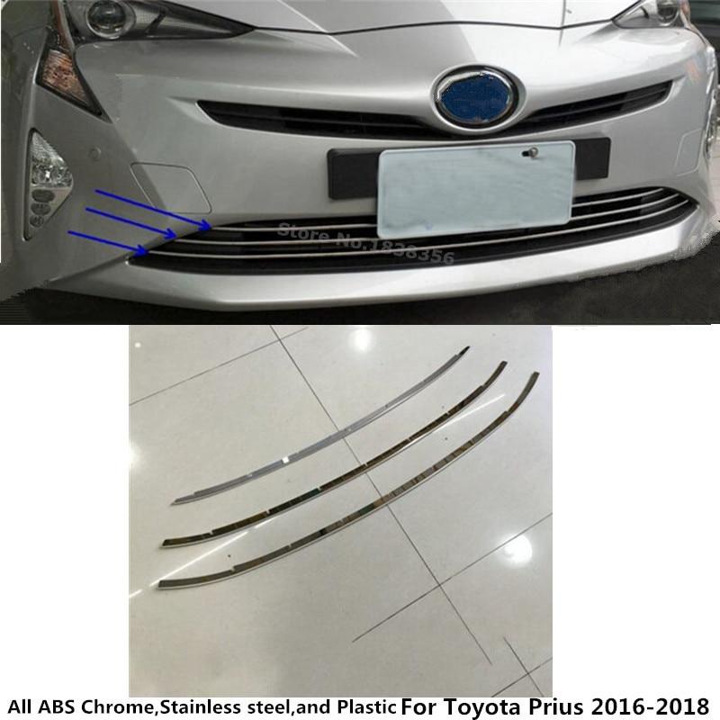 Pour Toyota Prius 2016 2017 2018 voiture de Course couverture protection détecteur Inoxydable garniture Avant fond Grille Grill Grille 3 pcs dans Chrome Styling de Automobiles et Motos
