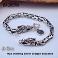 New Fashion Male 100% Real Pure 925 Sterling Silver Dragon Bracelets for Men Punk Jewelry Best Gift HYB003