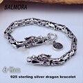 Nova Moda Masculina 100% Real Pure 925 Sterling Silver Dragon Pulseiras para Homens Punk Jóias Melhor Presente HYB003