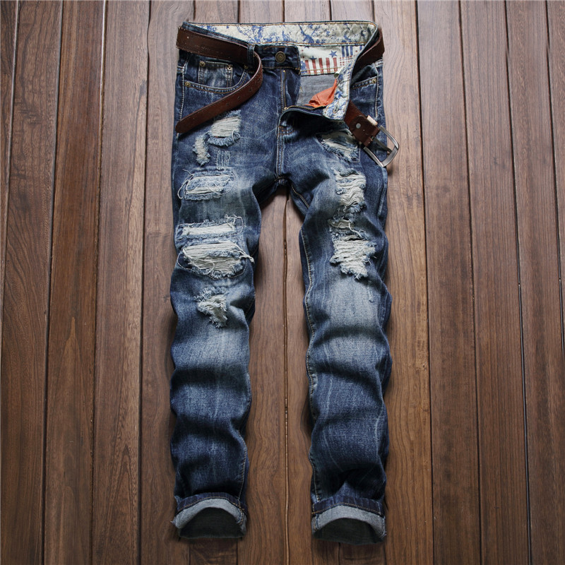 High quality fashion blue distressed men ripped jeans 2017 patchwork destroyed rock denim pants slim straight mens trousers