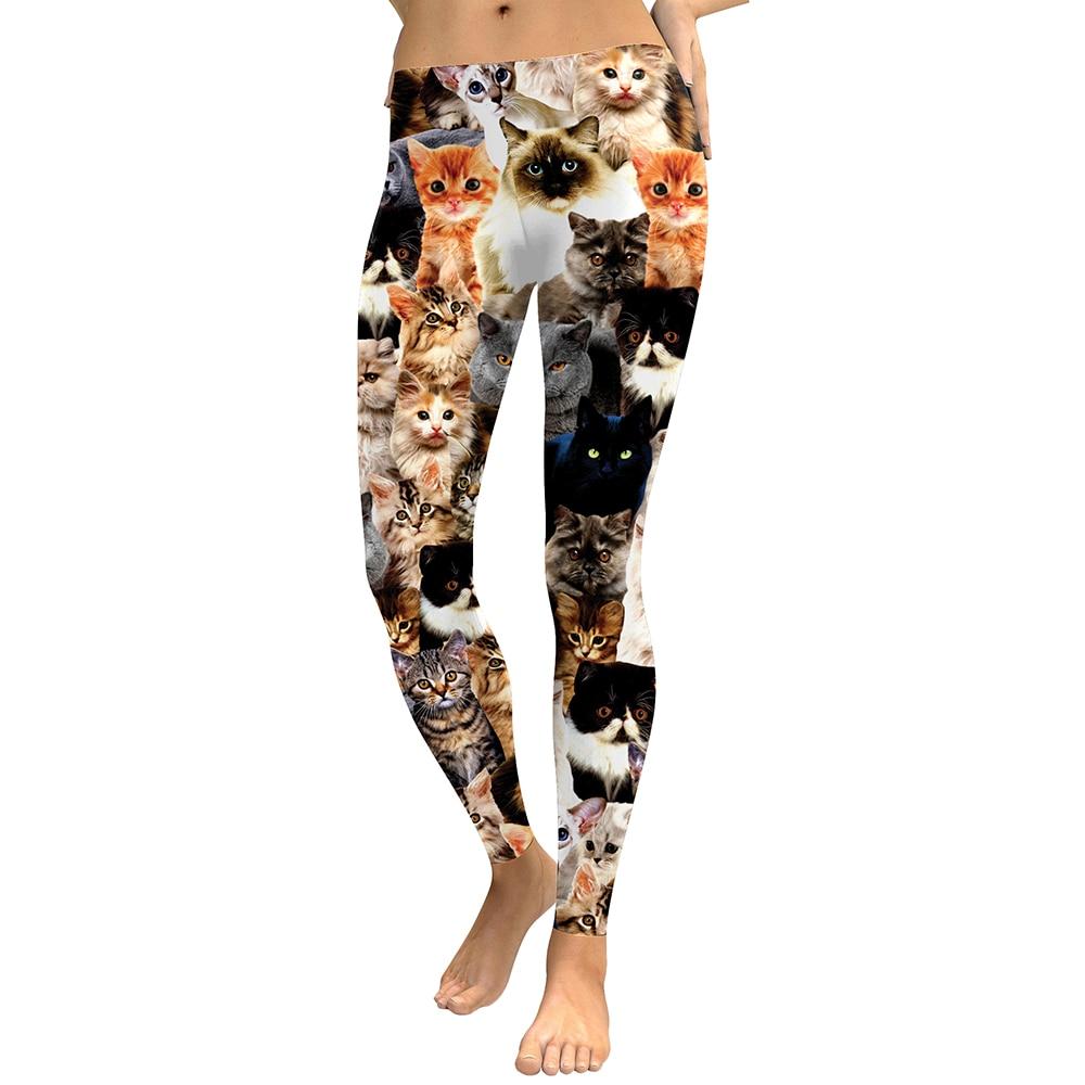 Women   Leggings   High Elastic Skinny Fitness Leggins Cat Printed Funny Work Out Women Pants   Legging   Trousers