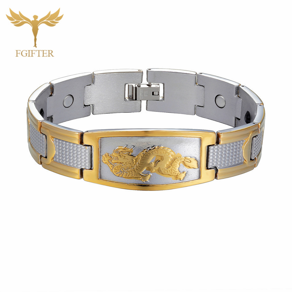FGifter Mens Dragon Bracelets Man Gold Silver Color Stainless Steel Chain Bracelet for Men Fashion Male Jewelry