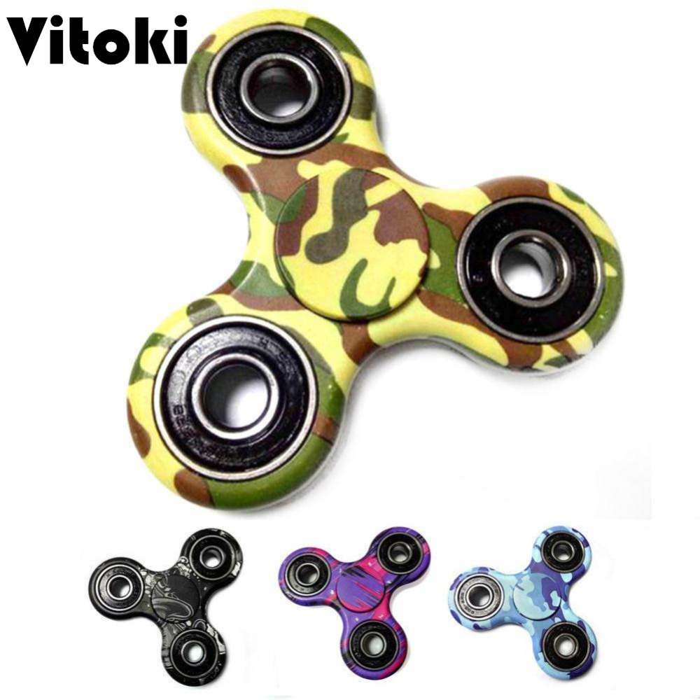 Camouflage Hand Spinner EDC ABS Fidget Spinner Cube Anti Stress Puzzle Toy...