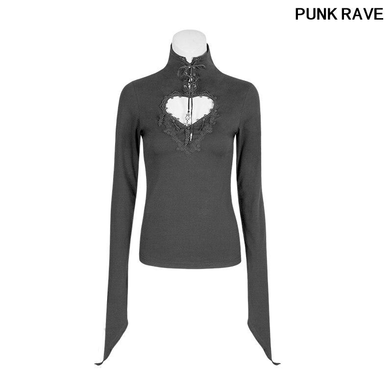 Mode gothique fleur ruban broderie beaux cœurs évider et dentelle garniture t-shirts pour les femmes PUNK RAVE T-481