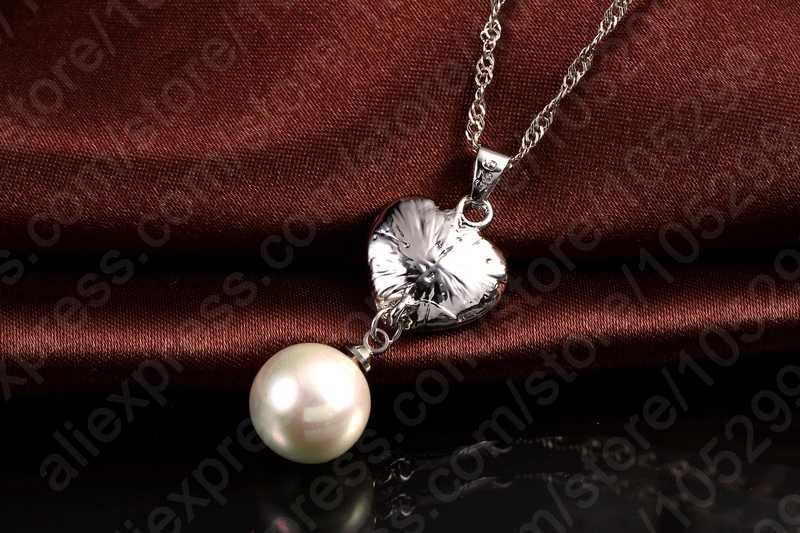 Crystal 925 Sterling Silver Necklace Earrings Pearl Cubic Zircon Jewelry Set Women Wedding Accessories Free Shipping