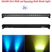 2xLot DHL Free Shipping 2016 Led Wall Washer Light 24X3W RGB 3in1 LED Line Bar Beam Wash Strobe Lights With Running Horse Effect