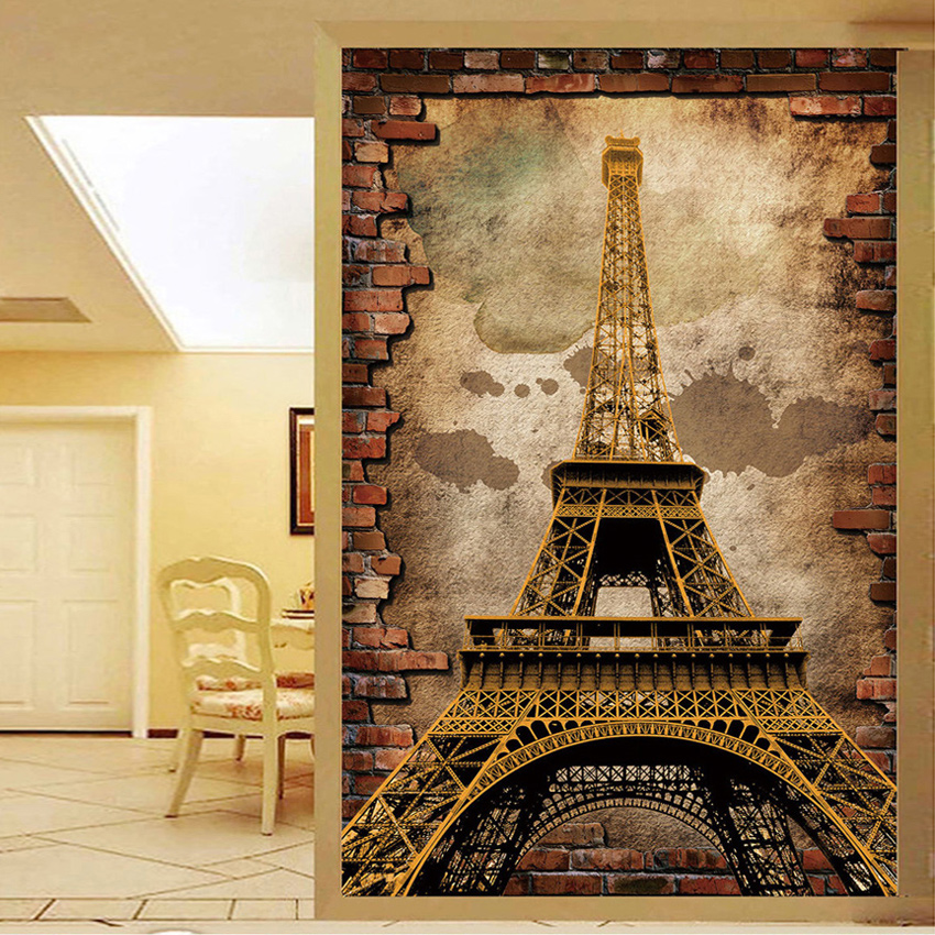 Customized Wallpaper For Walls 3D Retro European Style Eiffel Tower Wall  Painting Entrance Backdrop Wall Mural Part 39