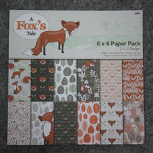 """New-style  6"""" background paper pads cute cartoon fox's tale 24sheets/Pack DIY Scrapbooking Paper pack,origami,paper craft"""
