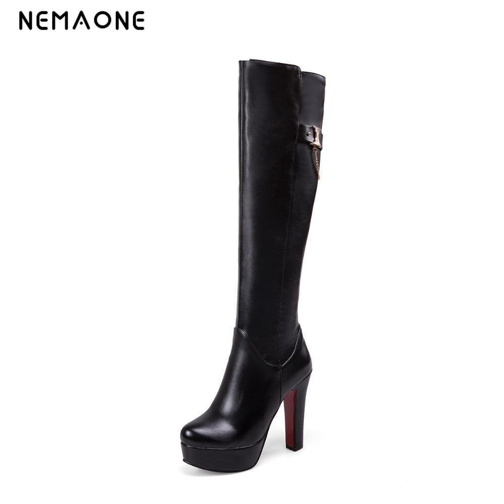 Pu Sexy Bottes Dames Printemps Genou Mode 2019 Femmes Noir Qualité Chaussures Haute Nemaone Automne marron De Talons Nouvelle blanc 1SqHRnnwO