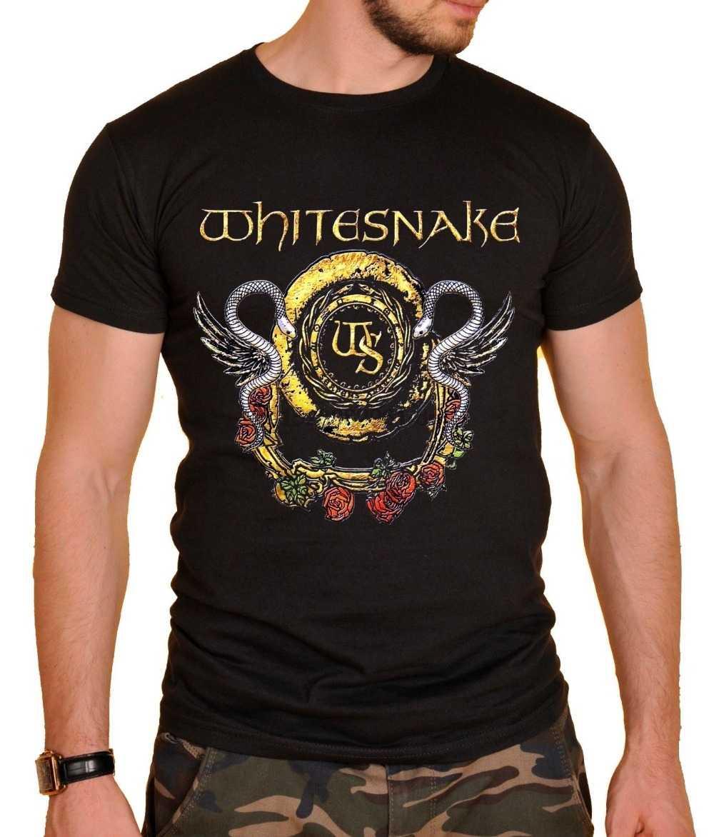 Zomer 2019 Nieuwe Whitesnake Rock T-shirt Logo Heren T-shirt Zwart Grappig Printing T Shirts Mannen Korte Mouw T-shirts