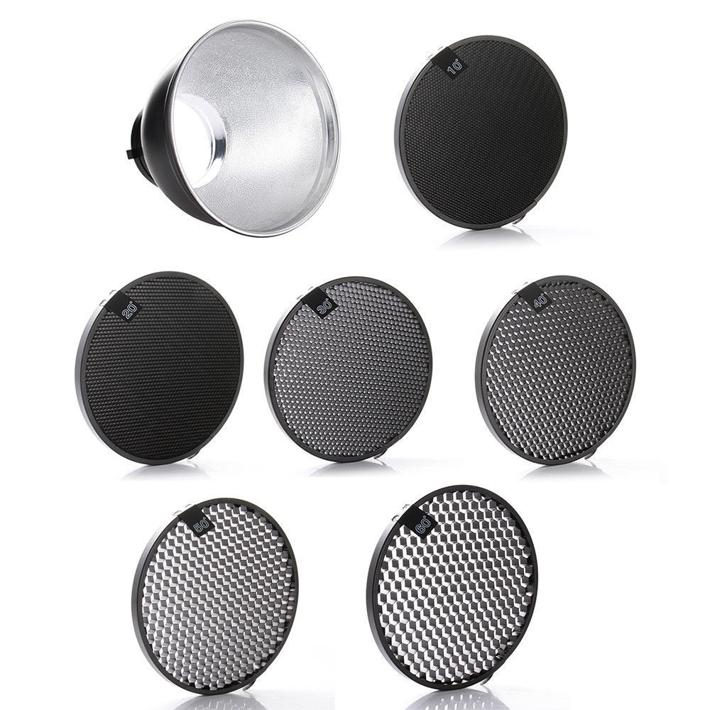 7 Reflector Diffuser Lamp Shade + 10/20/30/40/50/60 Degree Honeycomb Grid for Studio Photography Flash ...