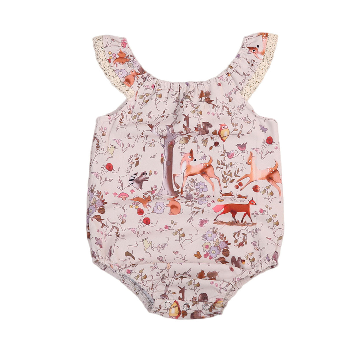 Newborn Infant Baby Girl Sleeveless Floral Romper Jumpsuit Sunsuit Cartoon Deer Clothes One-Pieces Outfits 2017 summer cute newborn baby boy girl cartoon fox romper sleeveless backless jumpsuit one pieces outfits sunsuit 0 24m