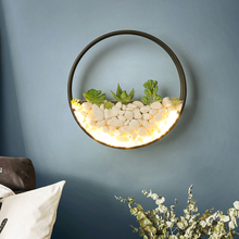 Luces de pared de planta de estilo nórdico, lámpara creativa para mesita de noche, dormitorio, escalera de Sala de bodas, sala de estar, lámpara de pared para pasillo sencilla y moderna