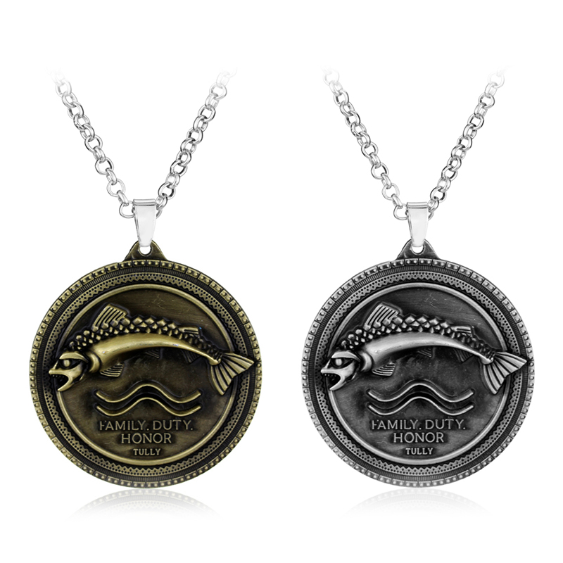 US $1 7 50% OFF Game of Thrones Necklace House Tully Family Crest Coho Fish  Pendant Statement Necklaces Metal A Song of Ice and Fire Necklace 50-in