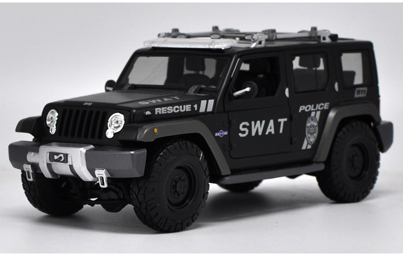 * 1/18 Car Model for Jeep Wrangler SWAT Police Car Rescue 1 Off Road Vehicle SUV Alloy Toy Car 1 18 otto renault espace ph 1 2000 1 car model reynolds