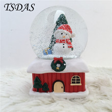 Snowman Merry Christmas Gift Crystal Ball Rotating Music Box, Desktop Decor Creative Luminous Musical Box Kids New Year Gift