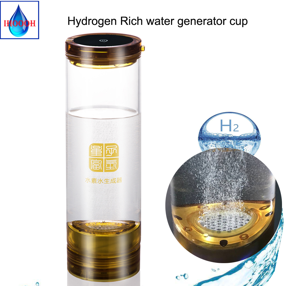 H2 Ionic Membrane Electrolysis Hydrogen Water Generator 600ML USB Rechargeable Anti Aging ORP Alkaline Glass Cup/Bottle Gift