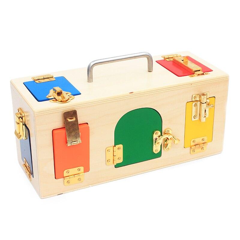 Montessori matériaux vie pratique jouet serrure boîte ouvrir la serrure clé éducatifs en bois jouets pour enfants de base et compétences de la vie jouet - 5