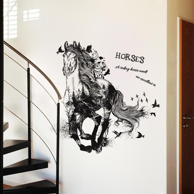 Horse Removable Cartoon Wall Sticker