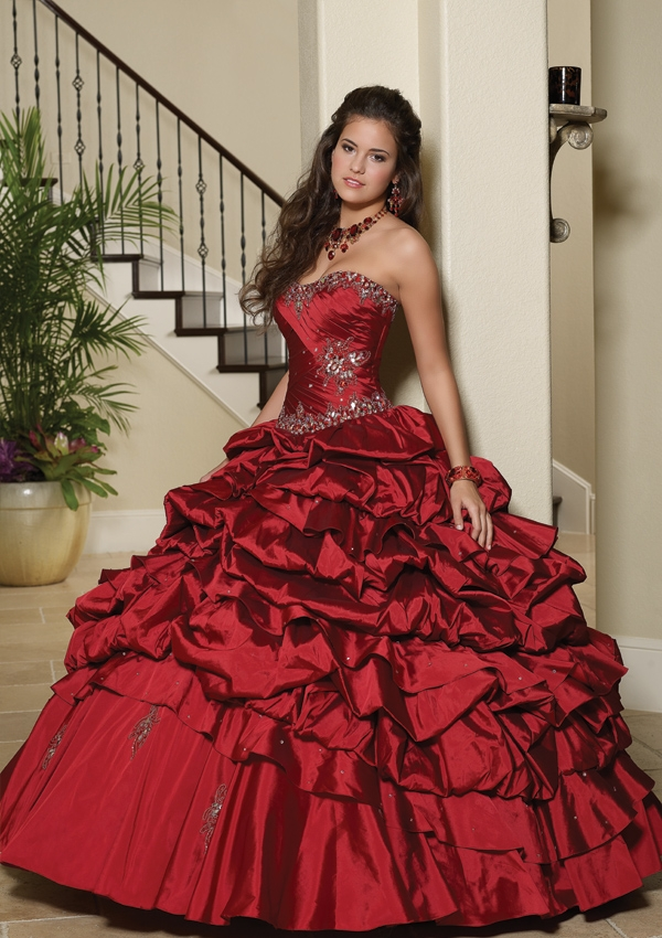 Sexy Ruffle Ball Gown Floor Length With Jacket Taffeta Red
