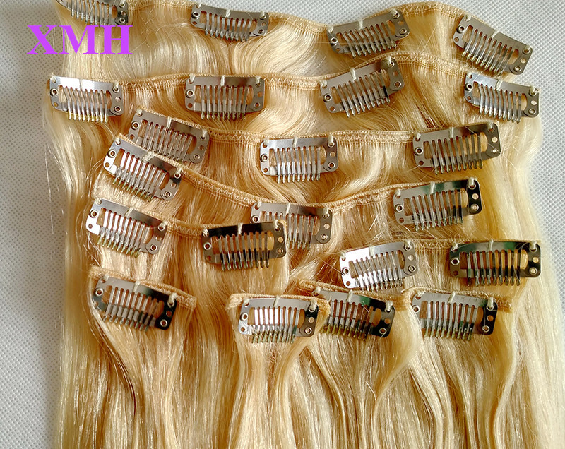 613 BLONDE COLOR HAIR EXTENSIONS REMY HUMAN HAIR NO MIX