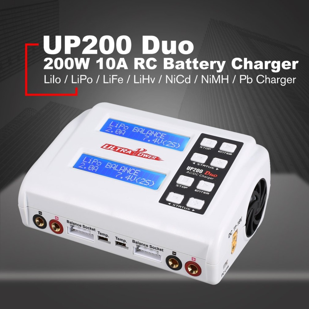 Ultra Power UP200 DUO 200W 10A AC / DC Battery Balance Charger / Downloader for LiPo LiFe Lilon LiHV NiCd NiMh Pb RC Battery все цены