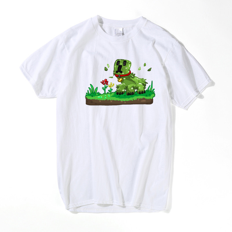 Game Minecraft Creeper Pet T Shirt Men Summer White/Gray Creeper King Boss T-SHIRT Cartoon Top Tees US Size 3XL