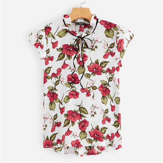 Women's Floral Print Blouse with Ribbon