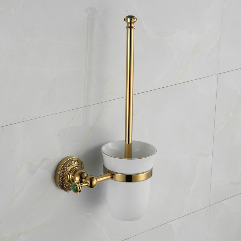 Luxury Gold Plated Finish Toilet Brush Brush Holder With Ceramic Ceramic Cup Household