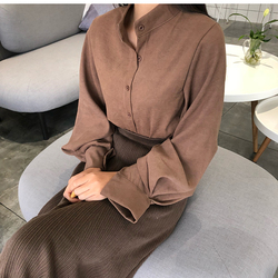 2018 new spring women chic vintage stand collar blouse elegant solid color lantern sleeve top female casual work shirts tops 3