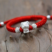 Cute 999 Silver Dog Charm Bracelet Chinese Lucky Hand Knitting Red Rope Hand String for Boys Babies Birthday Day Gift Wholesale(China)