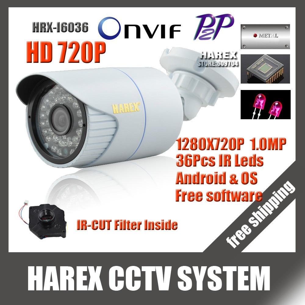 1280*720 P 1.0mp 36 шт. ИК светодиодов IP Камера ONVIF Водонепроницаемый Открытый ИК Ночное видение plug and play, Бесплатная доставка