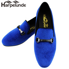 Harpelunde Men Velvet Loafer Shoes Blue Buckle Flats