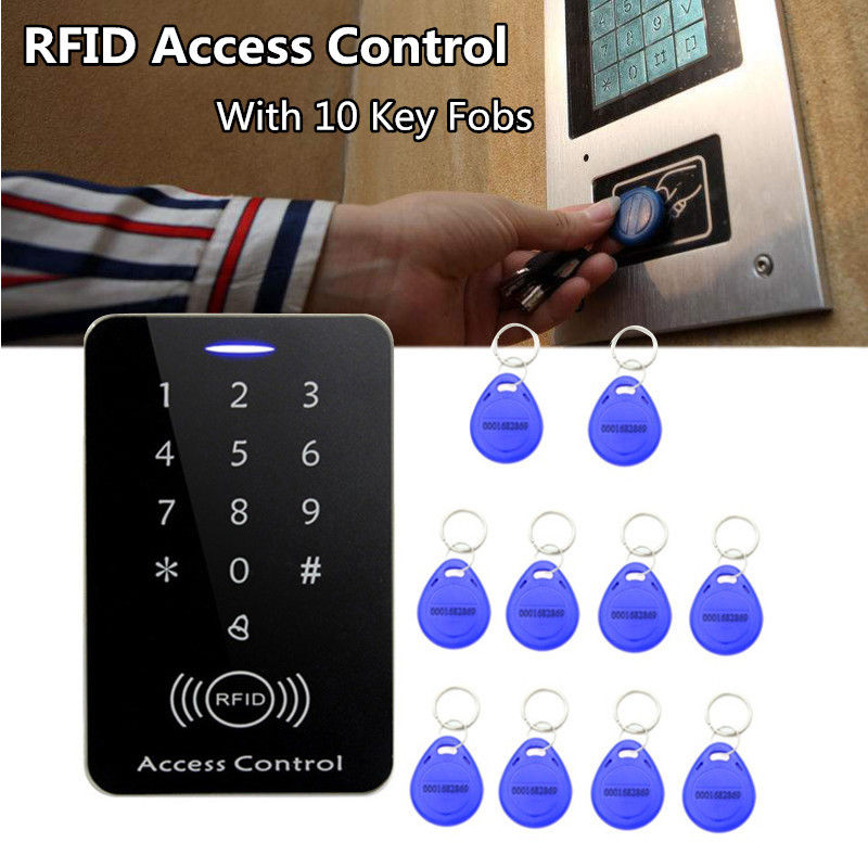 Standalone Access Controller with 10pcs EM keychains RFID Access Control Keypad digital panel Card Reader For Door Lock System rfid standalone access control card reader with digital keypad 125khz 13 56mhz smart card lock with lcd screen for secure system