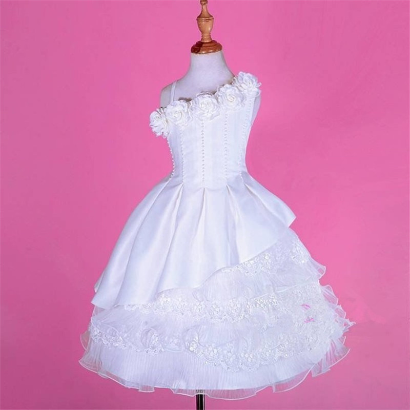 2015 White Lace   Flower     Girl     Dresses   For Weddings One Shoulder First Communion   Dresses   For   Girls   Custom Pearls Kids Evening Gowns