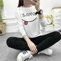 Impresión de la letra camiseta harajuku mujeres o-neck pullover camiseta de manga larga de algodón mujeres de la camiseta casual tops tamaño pls CG10004
