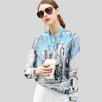 Высокое качество 100% шелковая блузка Женская легкая ткань с принтом бант вырез с длинным рукавом официальные топы элегантный стиль Новая Мо