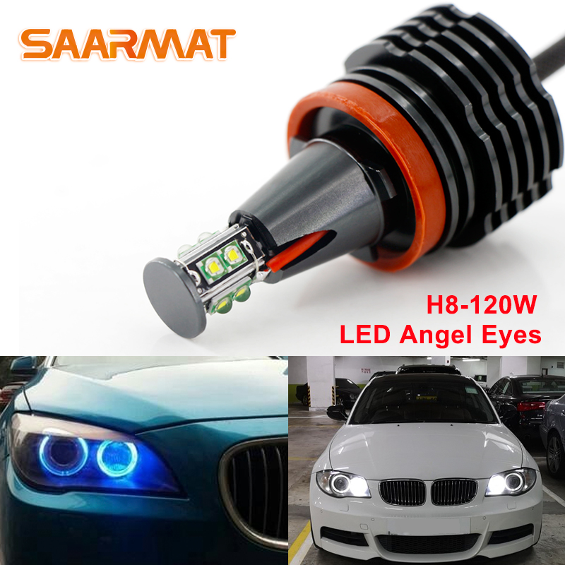 2Pcs 120W LED Canbus Error Free Angel Eyes Light Headlight Lamp For BMW E90 E92 E82 E60 E70 X5 E71 X6 Fog Lights White Blue Red