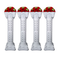 4PCS 90CM Wedding Decor Roman Column with Flower Stand Wedding Props Plastic White Pillars Party Events Road Welcome Supplies
