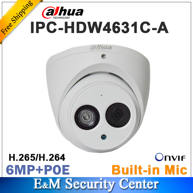 Original Dahua IPC-HDW4631C-A Replace IPC-HDW4431C-A Network IP Camera 6MP IR POE CCTV Mic Built-in Dome H265 Metal Housing