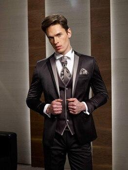 Custom Made Groom Tuxedo Black Groomsmen Notch Lapel Wedding/Dinner Suits Best Man Bridegroom (Jacket+Pants+Tie+Vest)B329